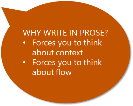 Why write in prose?